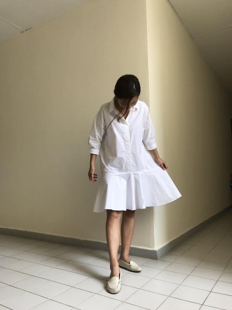 Shirt Flare Dress White