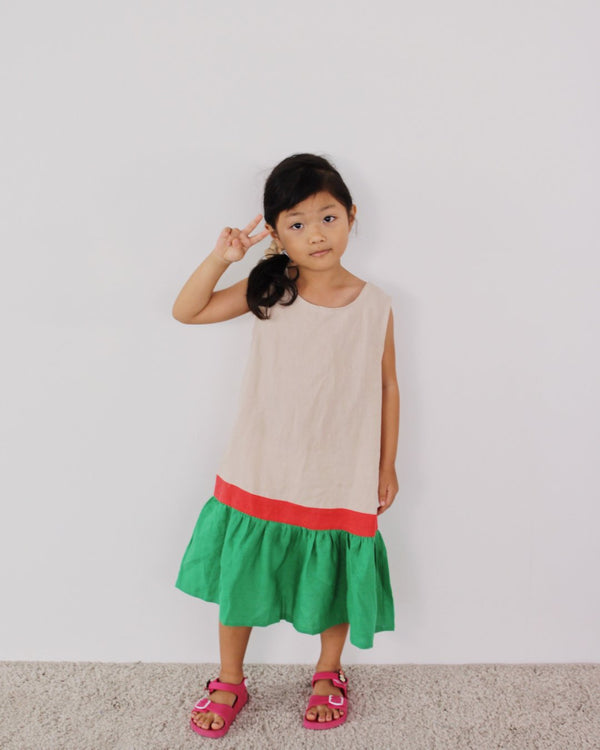 Tri-colour Dress Cream (Girl)
