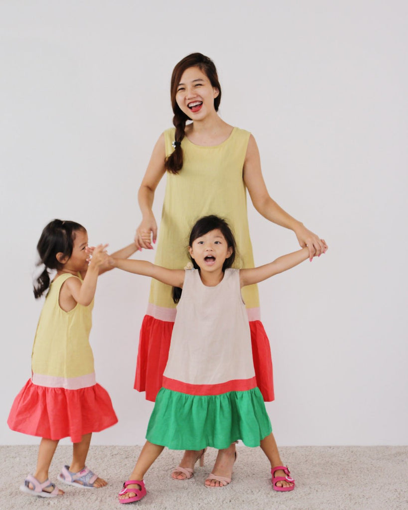 Tri-colour Dress Mustard (Woman/ Girl)