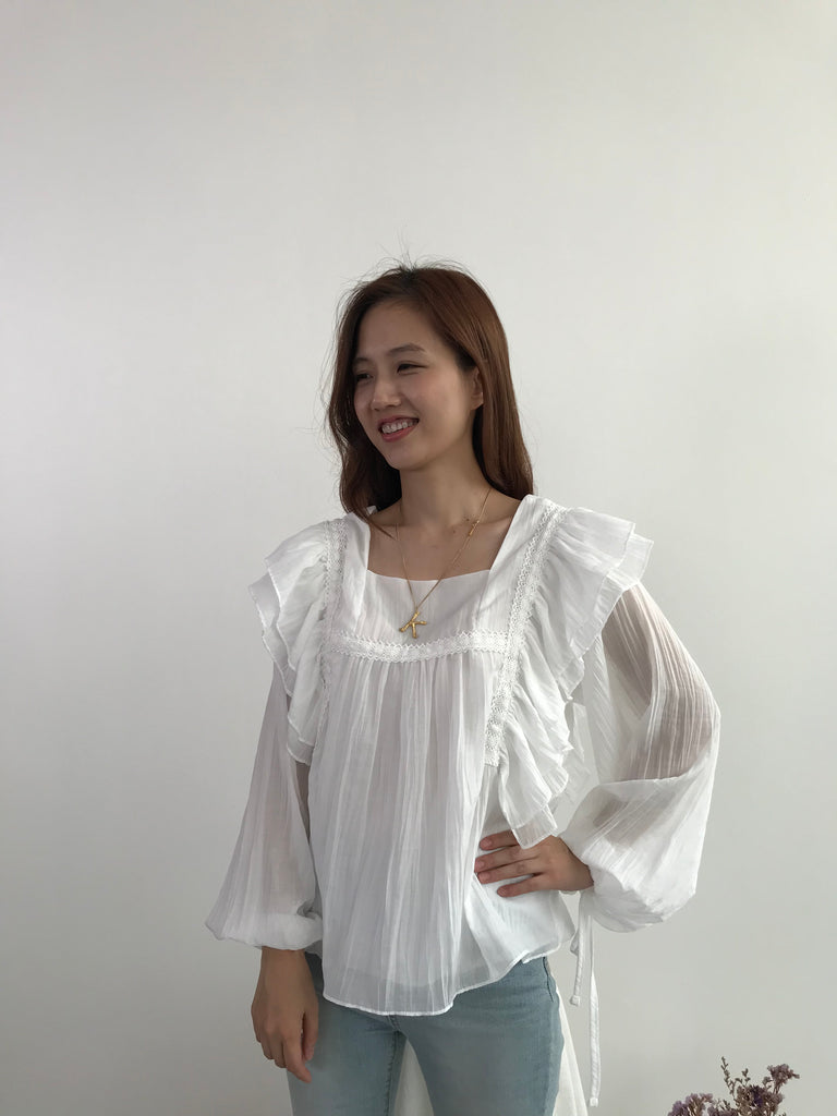 Butterfly Frill White Blouse