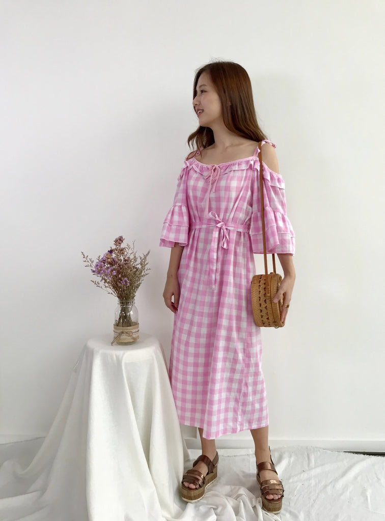 [READYSTOCK] Off Frill Gingom Dress (Woman/ Girl)