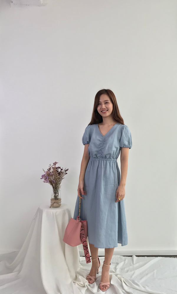 Linen Gathered-front Dress