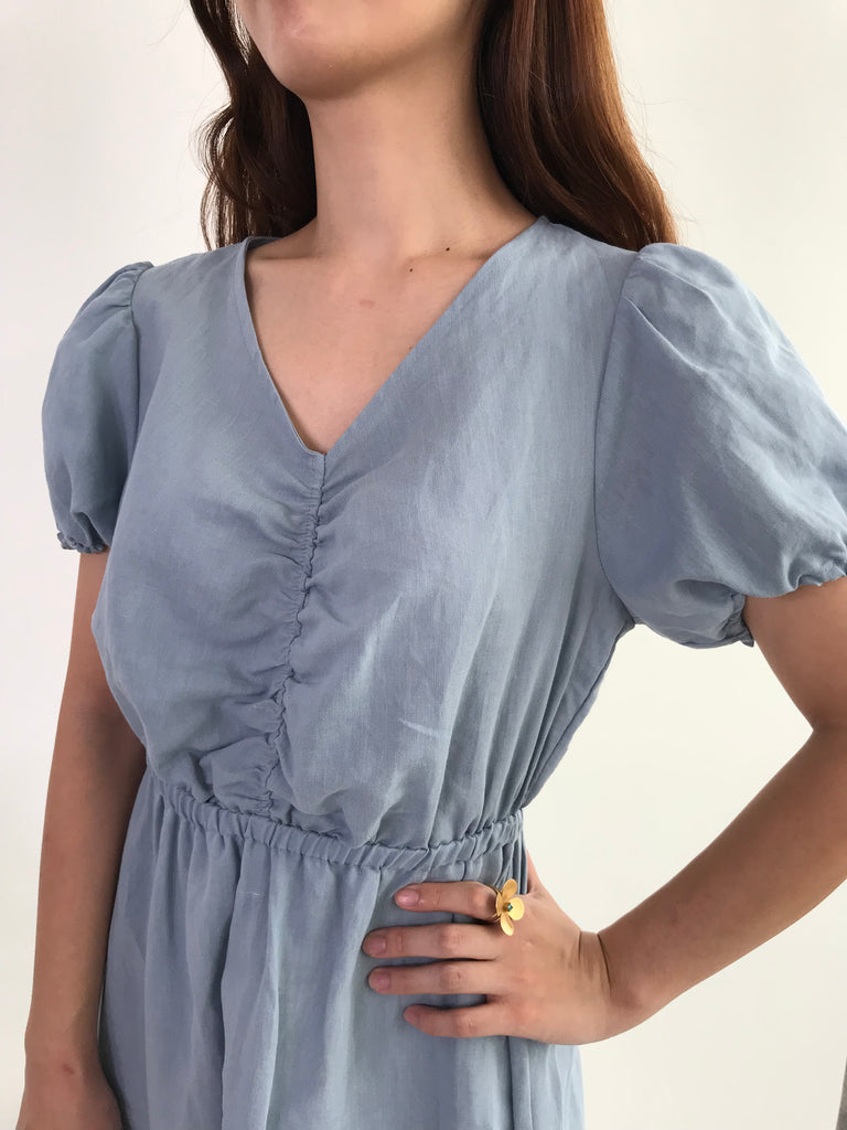 [READYSTOCK] Linen Gathered-front Dress