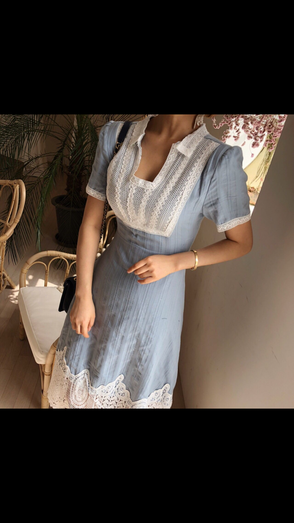 Picnic Lace Dress (Dusty Blue)