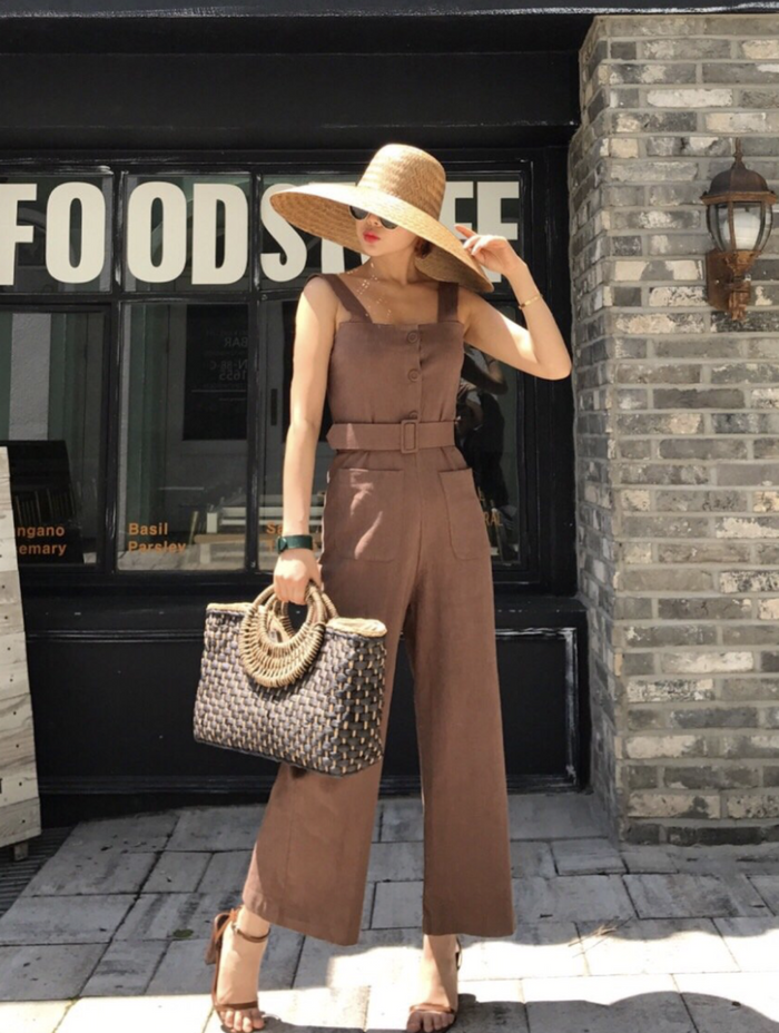 Belted Jumpsuit (Coffee)