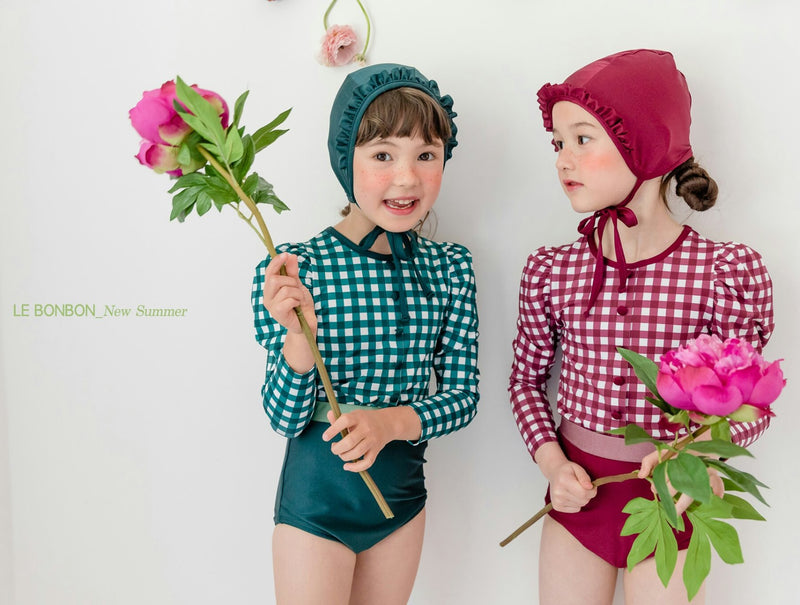 Retro Swimsuit set (Plum/ Forest Green)