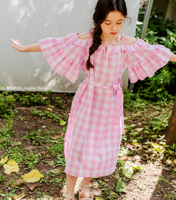 Off Frill Gingom Dress (Woman/ Girl)