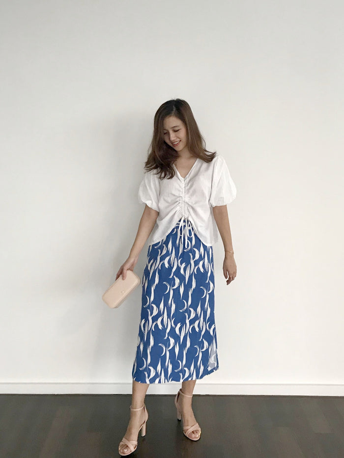 Brush stroke print skirt