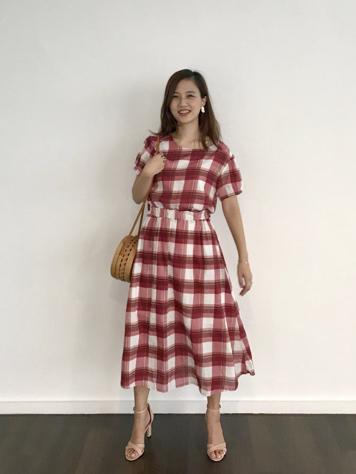 Twinning Gingham Back Open Picnic Dress (Maroon/ Moss Green)