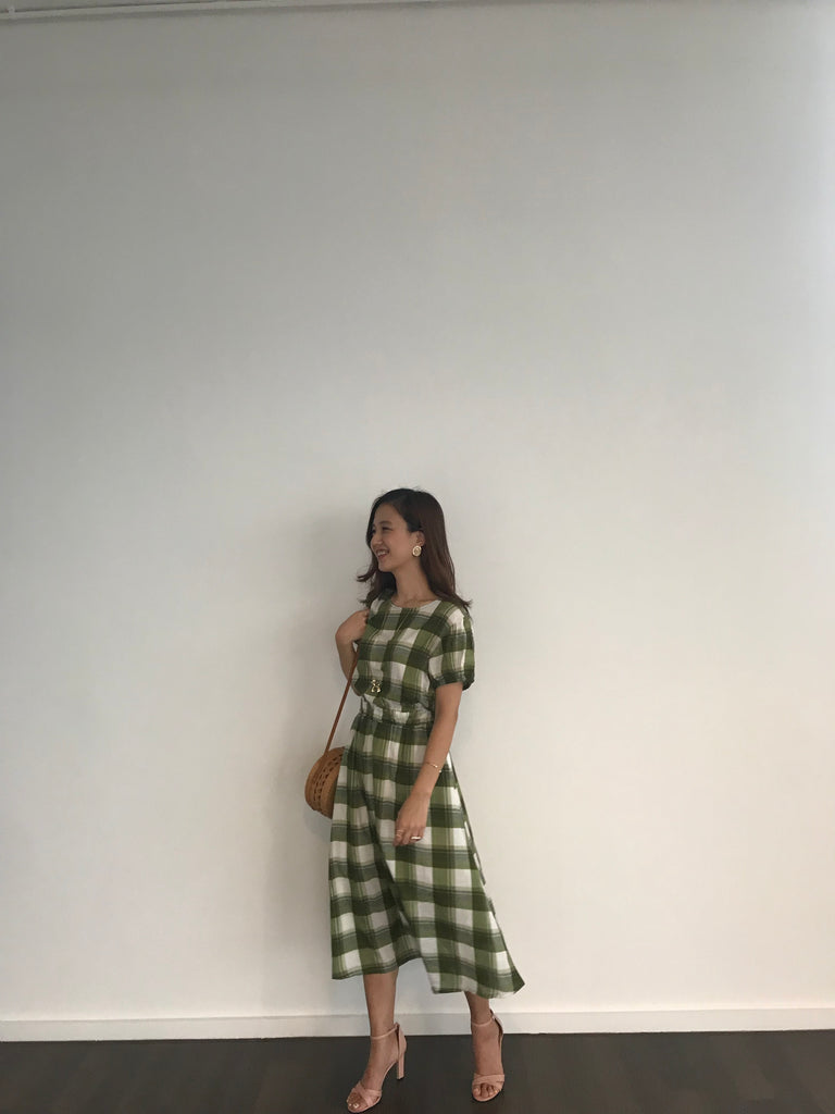 Gingham Back Open Picnic Dress (Maroon/ Moss Green)