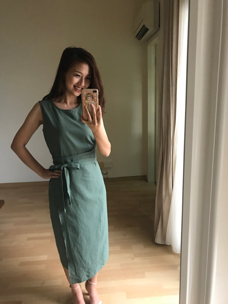 Better Together Couple Outfit Wrap dress + Linen Pocket Shirt Deep Green