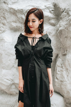 [PREORDER] String Shirt Dress Black