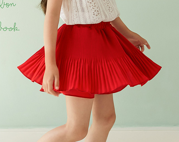 Pleats Skirt-pants Red Mom - ksisters.sg