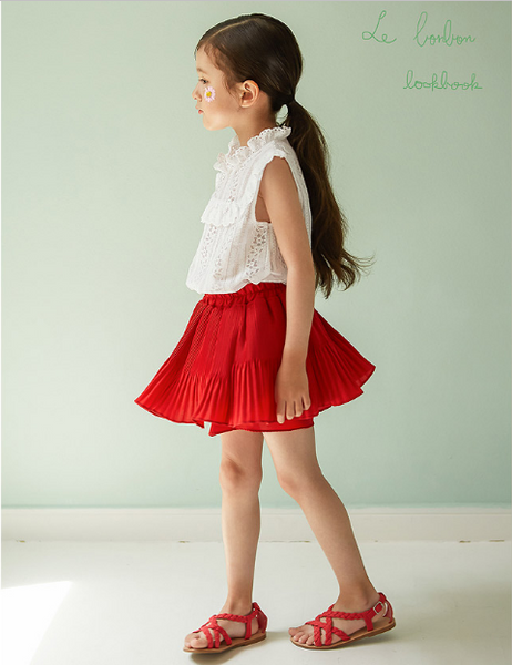 [7th restock] Pleated Skort Red