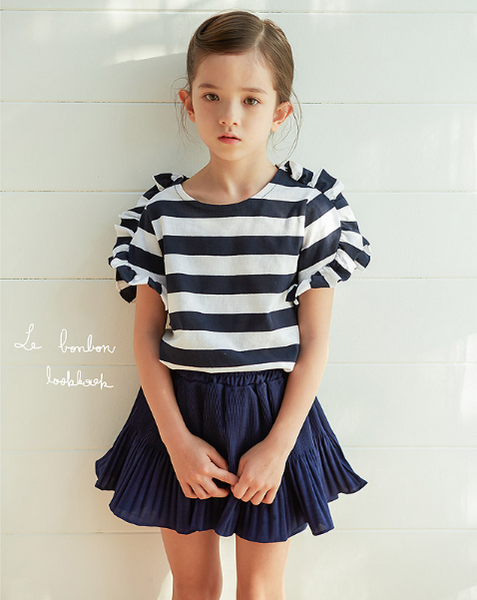 Pleats Skirt-pants Navy - ksisters.sg
