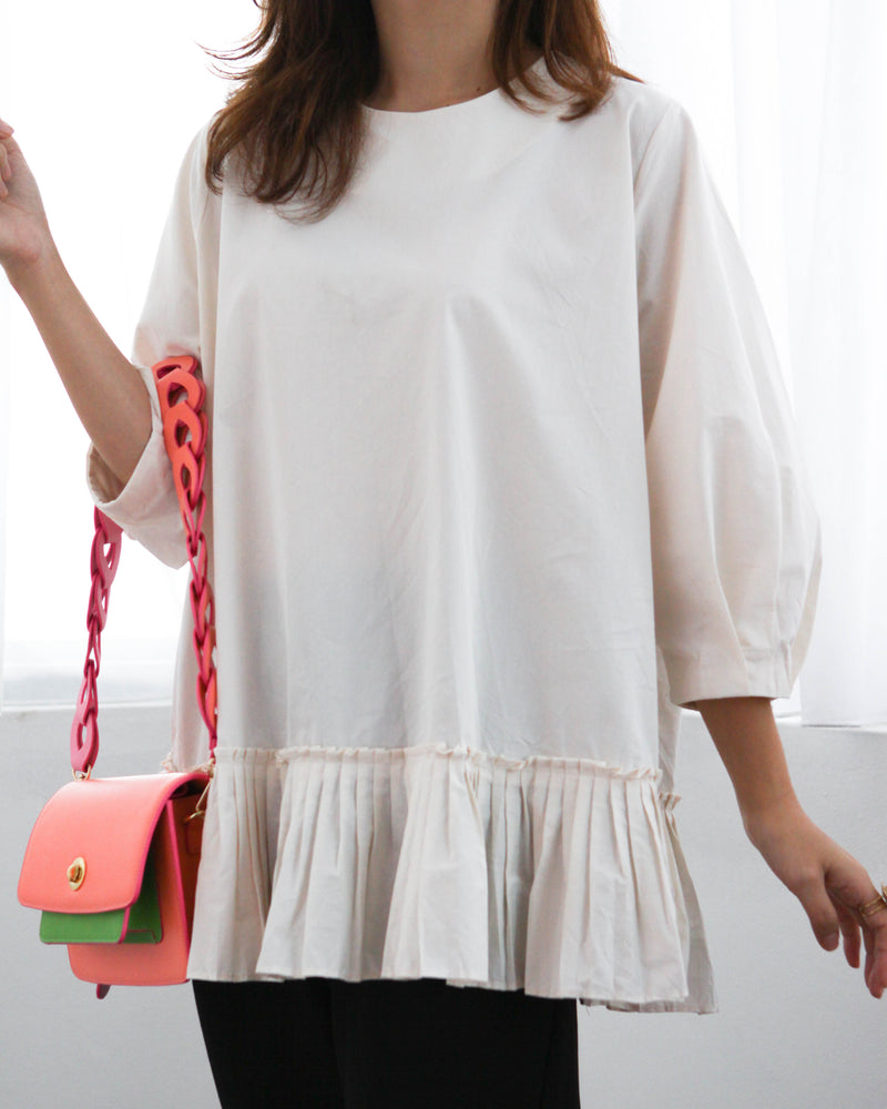 Origami Pleated Hem Blouse (Cream/ Black)
