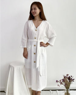 Classic Cream Linen Dress (Luxe)