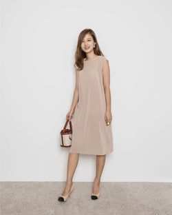 Sleeveless Relaxed Dress (Beige/ Stone/ Sky Blue)