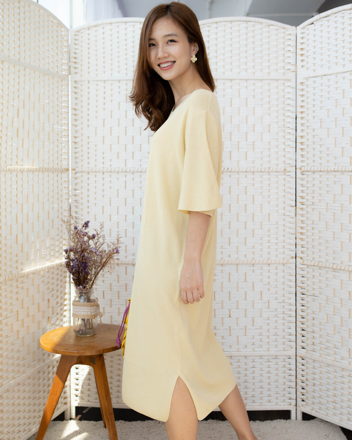 [PREORDER] Knitted Belt Dress (Mustard/Beige/Black/Cream)