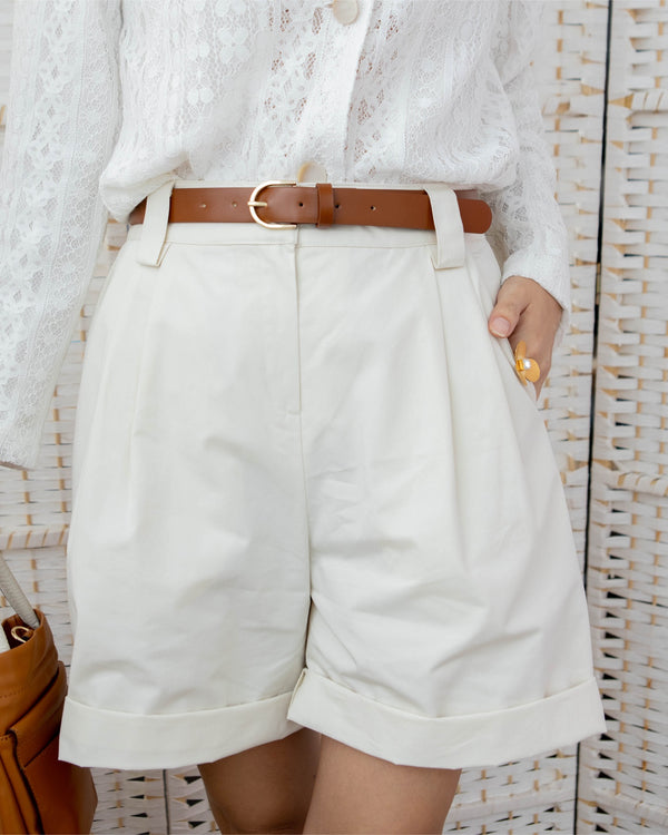 Pleated Boxy Shorts with Leather Belt (Green/Cream)