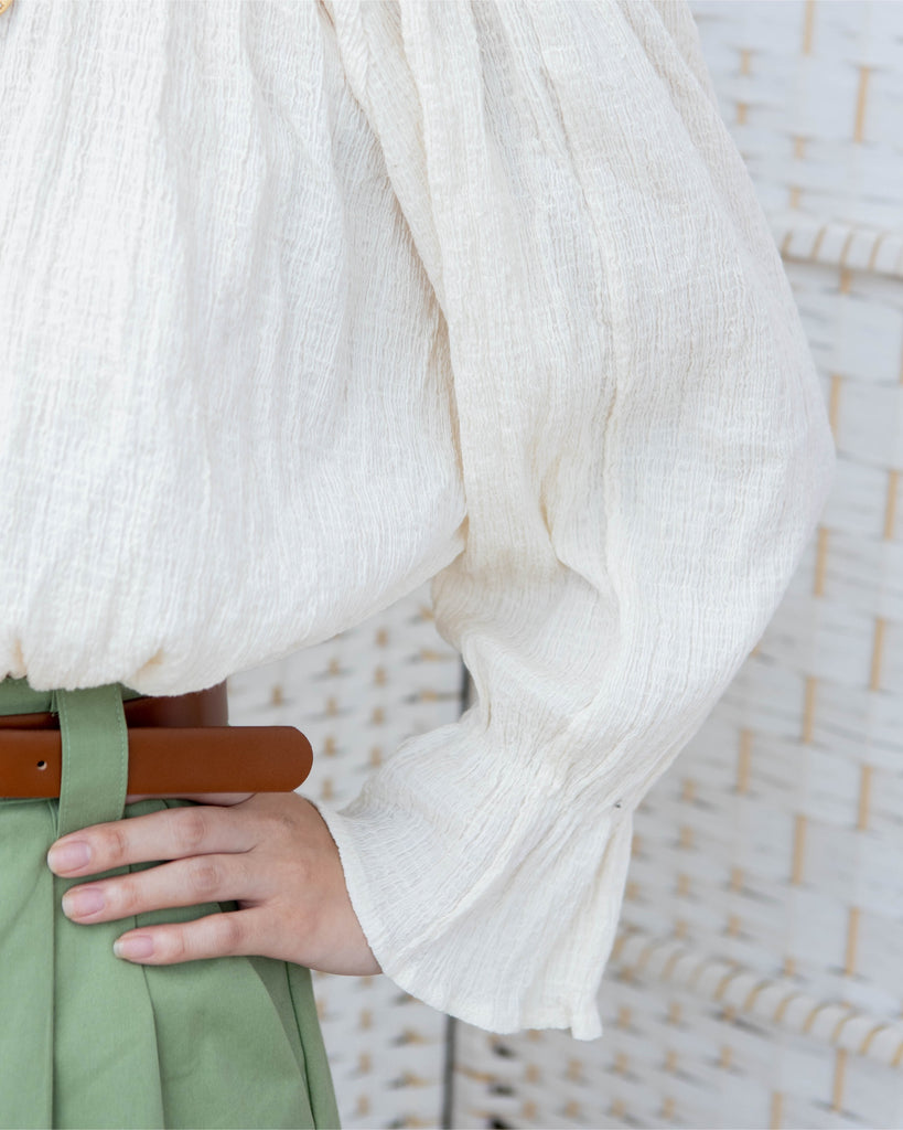 [PREORDER] Off Shoulder Textured Blouse (Cream/Forest Green)