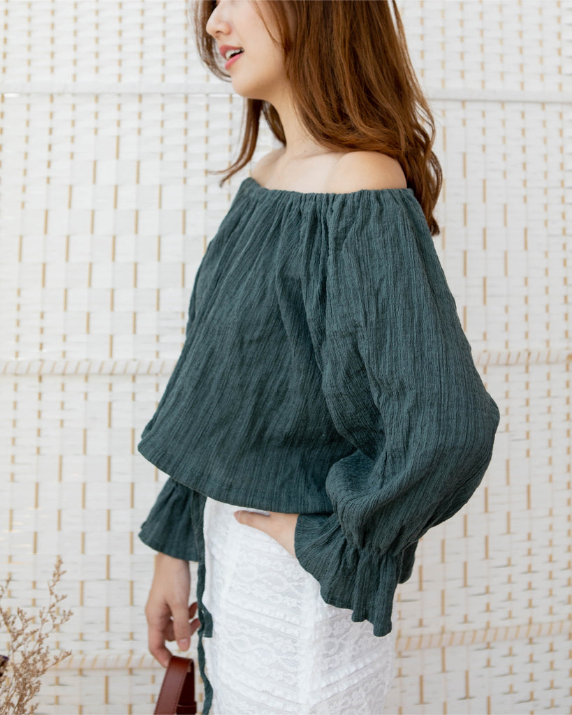 Off Shoulder Textured Blouse Forest Green