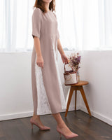 Contrast Flare Dress Nude