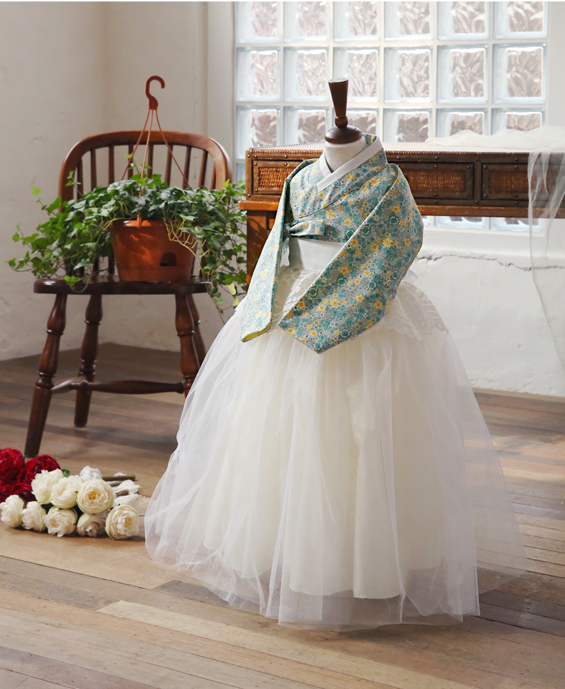 [PREORDER] Hanbok Tule Dress with Lace