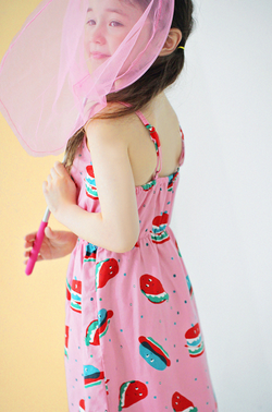 [PREORDER] Hamburger Dress (Pink/ White)