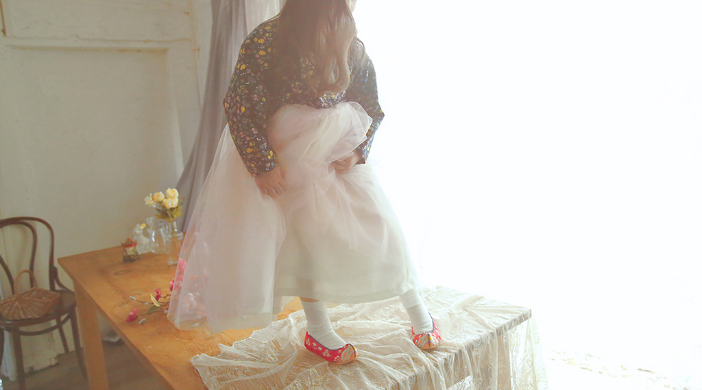 [BACKORDER] Hanbok Tule Dress Ivory with Lace