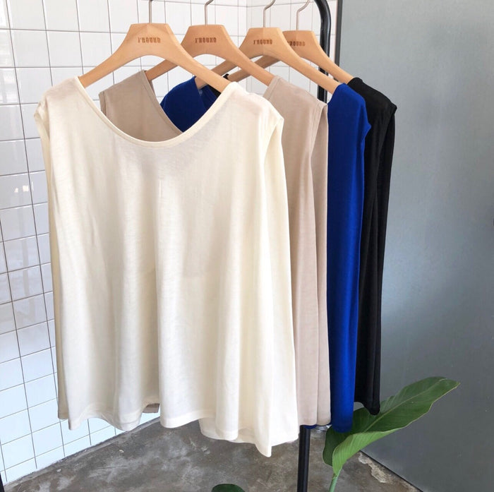 Drape Cotton Tee  (Ivory/ Blue/ Black)