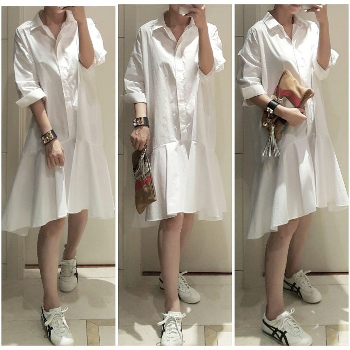 [3rd Restock] Shirt Flare Dress White