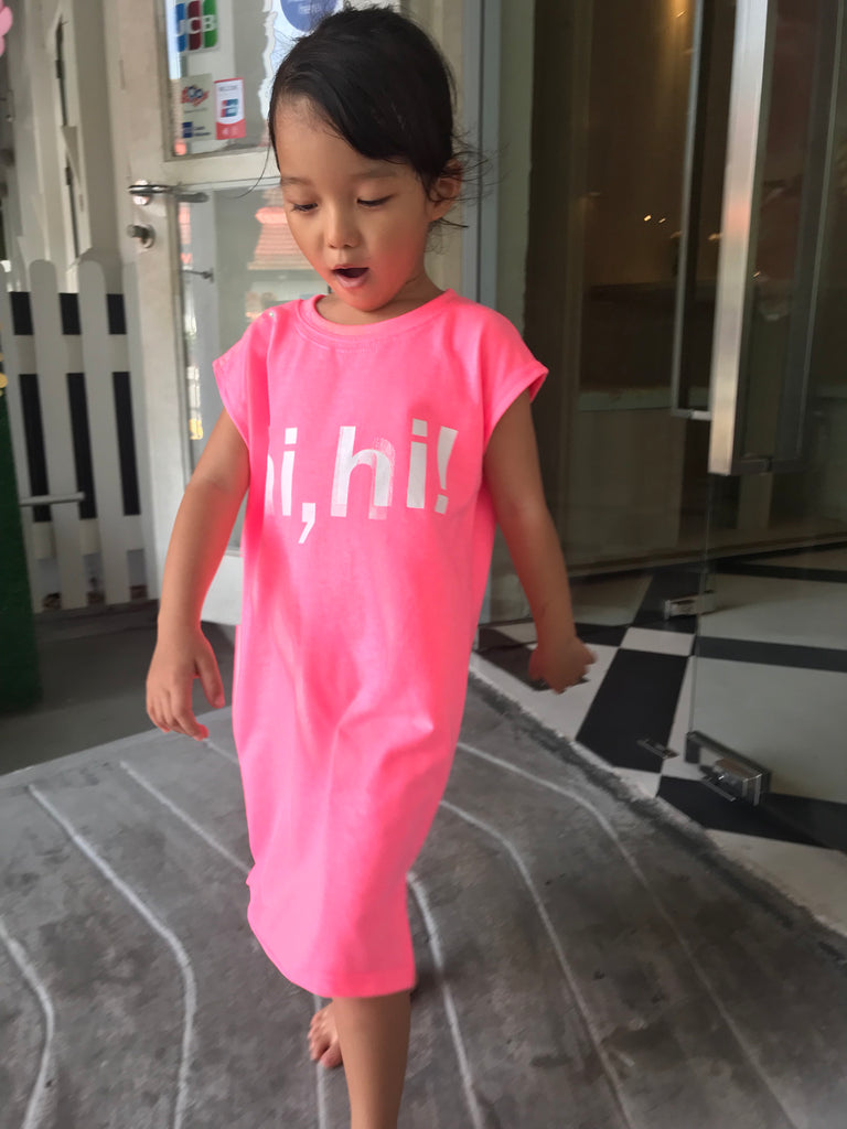 """Hi Hi"" Neon Pink Twinning Set (Woman/ Girl/ Boy)"