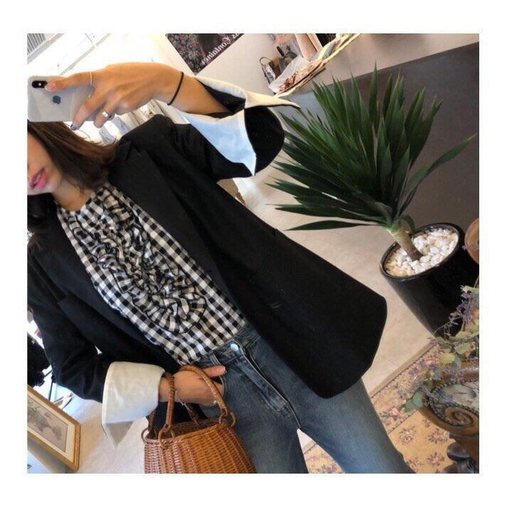 [PREORDER] Park Avenue Puff Sleeved Blouse Preppy Black