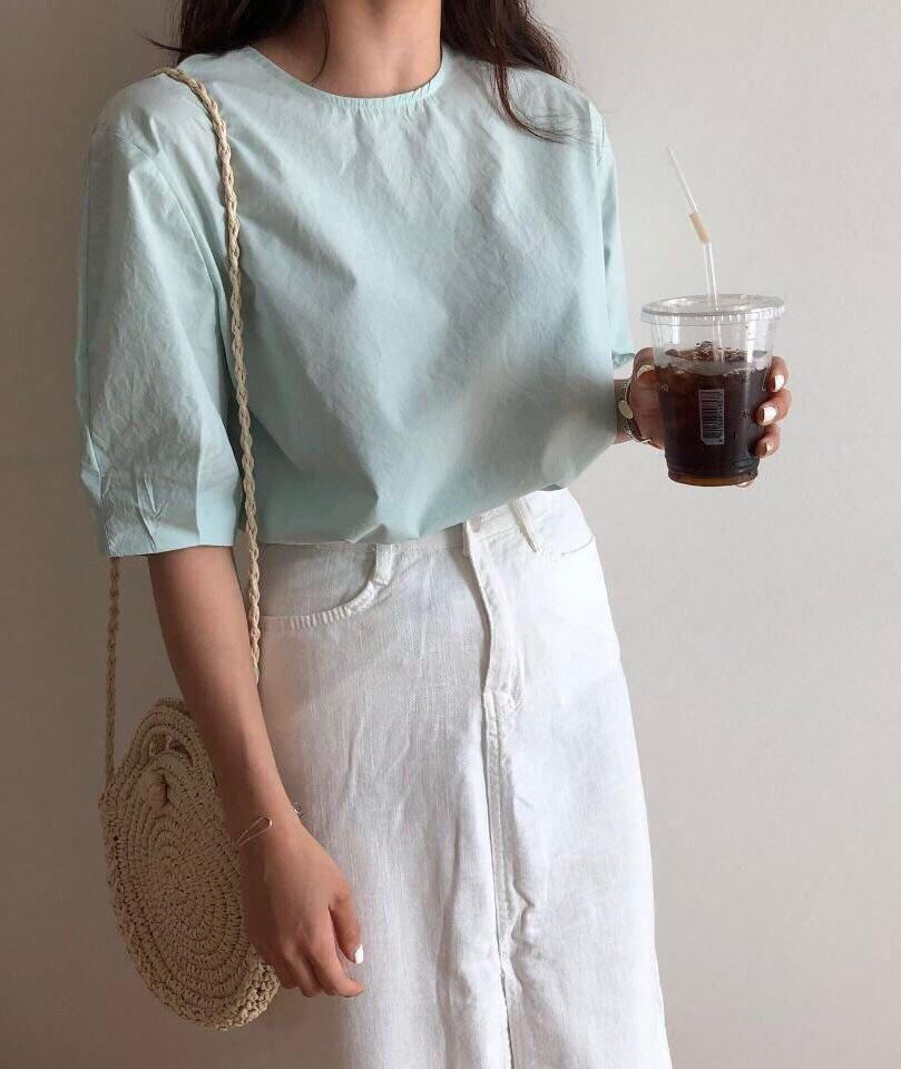 Tiffany Basic Blouse (Mint/ White)