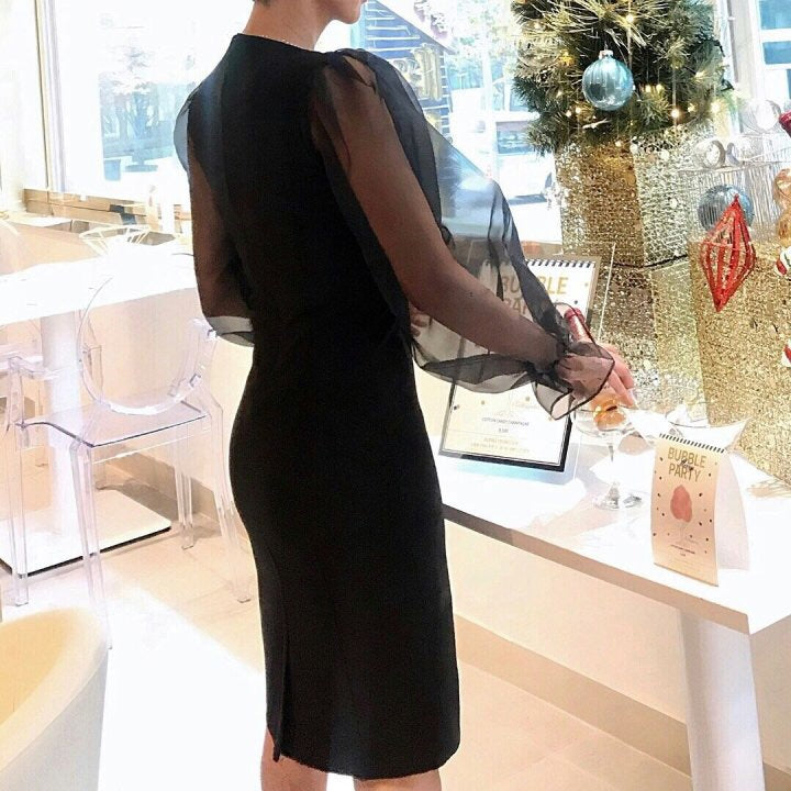 See Through Sleeve Dress Black