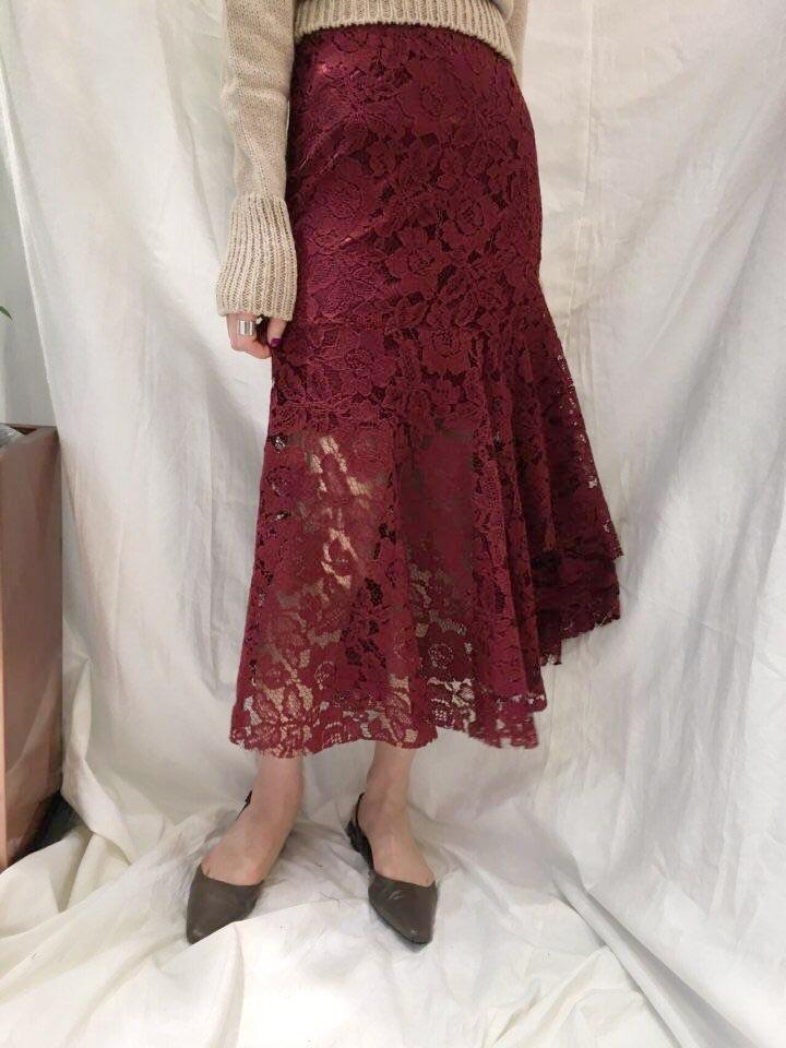 Mermaid Lace Skirt Burgundy