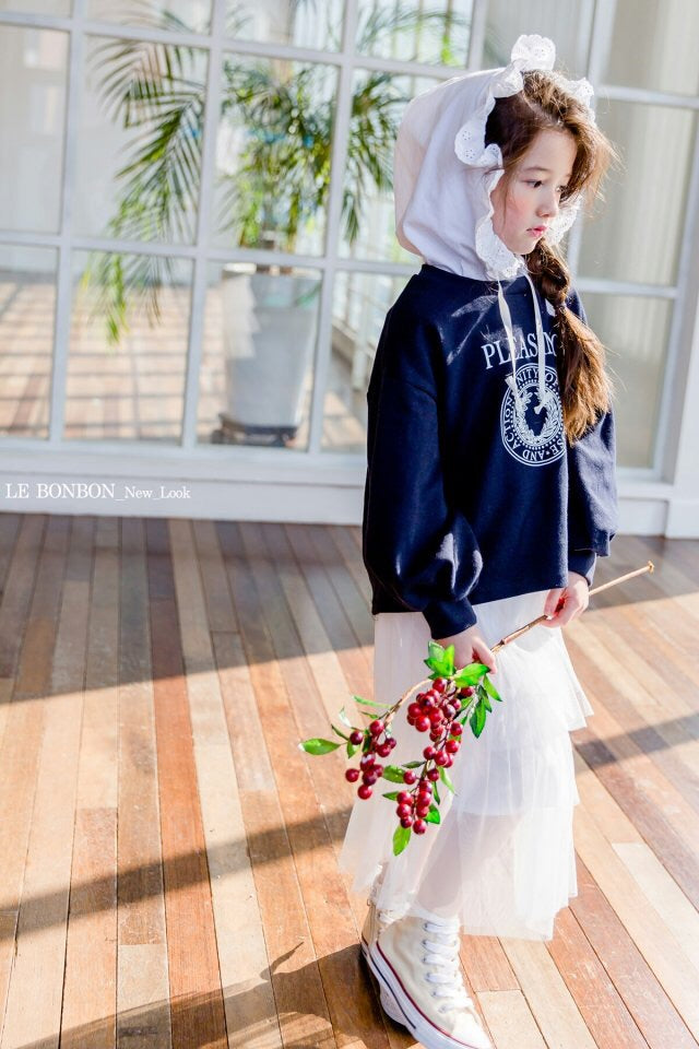 Crong Frill Hood Sweater Navy [Woman/ Girl]