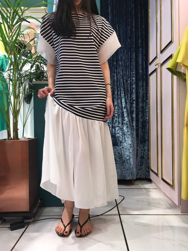 Striped Dress Dark Navy