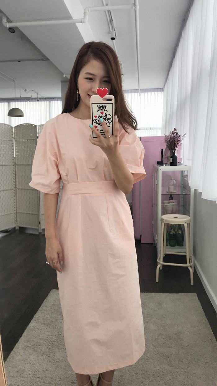 [PREORDER] Mimiciel Sheath Dress Luxe (Peach Pink/ Black)