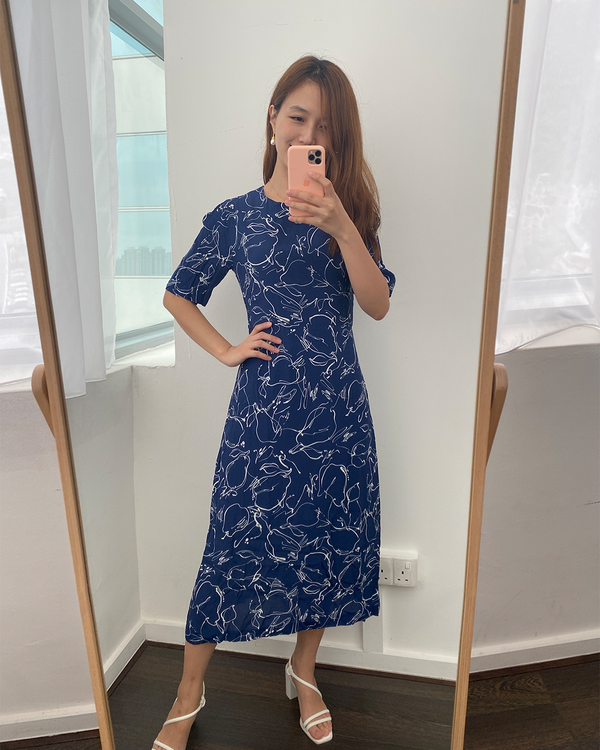 Navy Scribble Dress