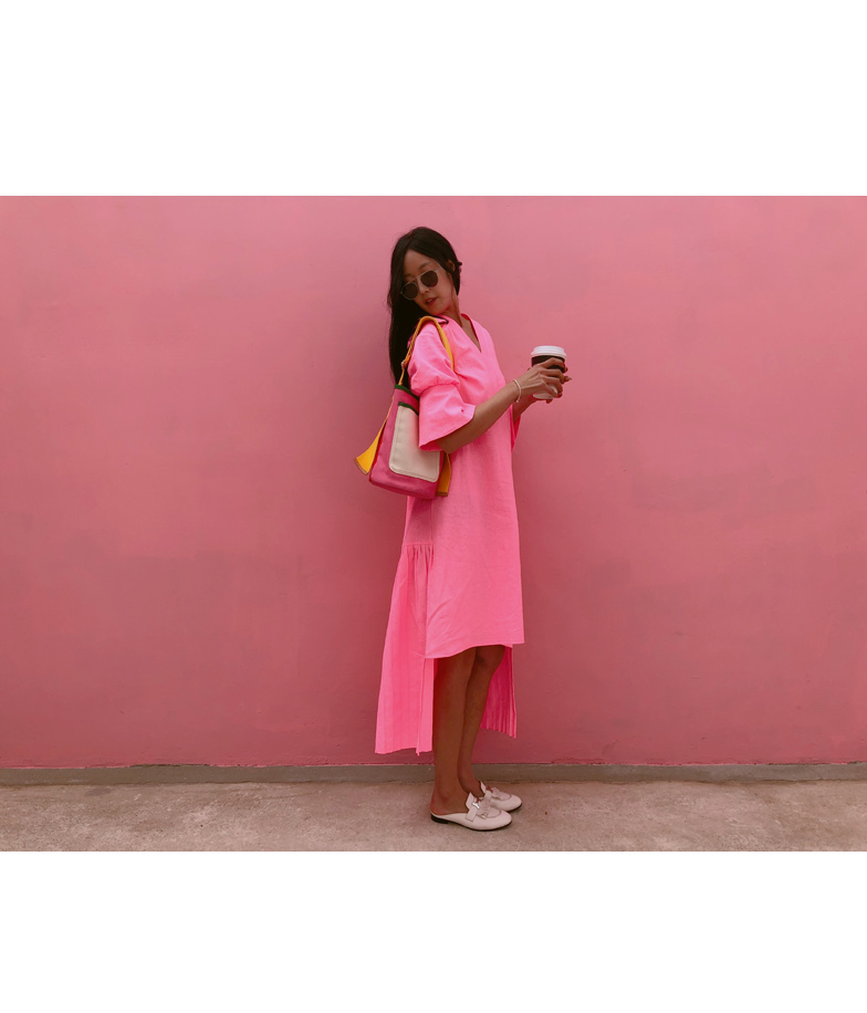 Neon Pink High-Low Dress