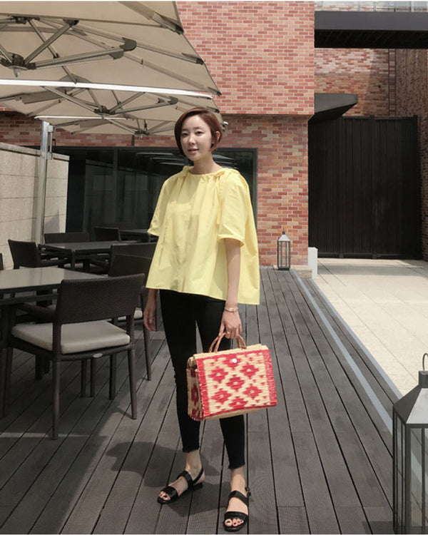 Mimiciel Ribbon Blouse (White / Yellow)
