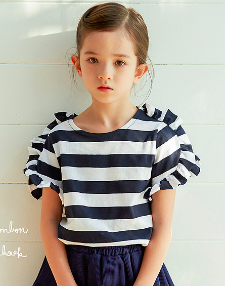 [2nd Restock] Stripes Frill T-shirt Navy Baby