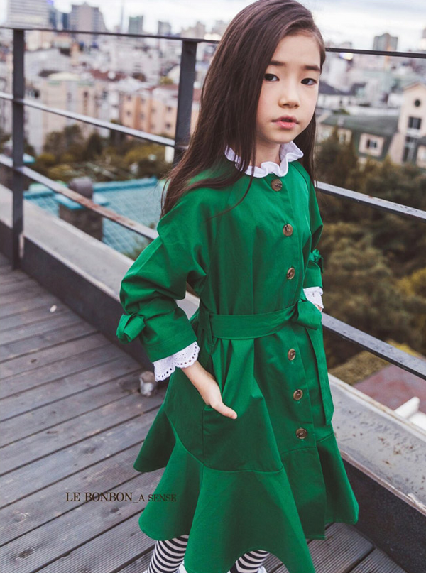 Flare Trench Dress Green Girl