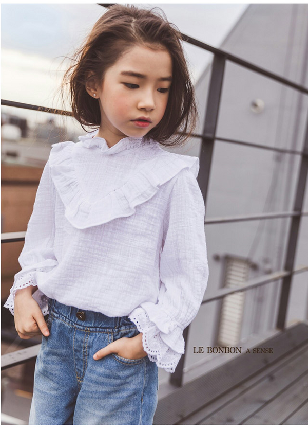 [PREORDER] Lace Frill Blouse White Twinning