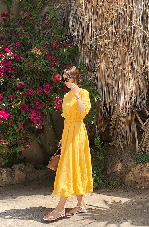 Premium Linen Long Dress LUXE (Yellow/Oatmeal/Black)
