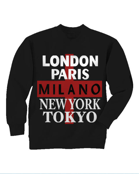 5 Cities Black Crewneck
