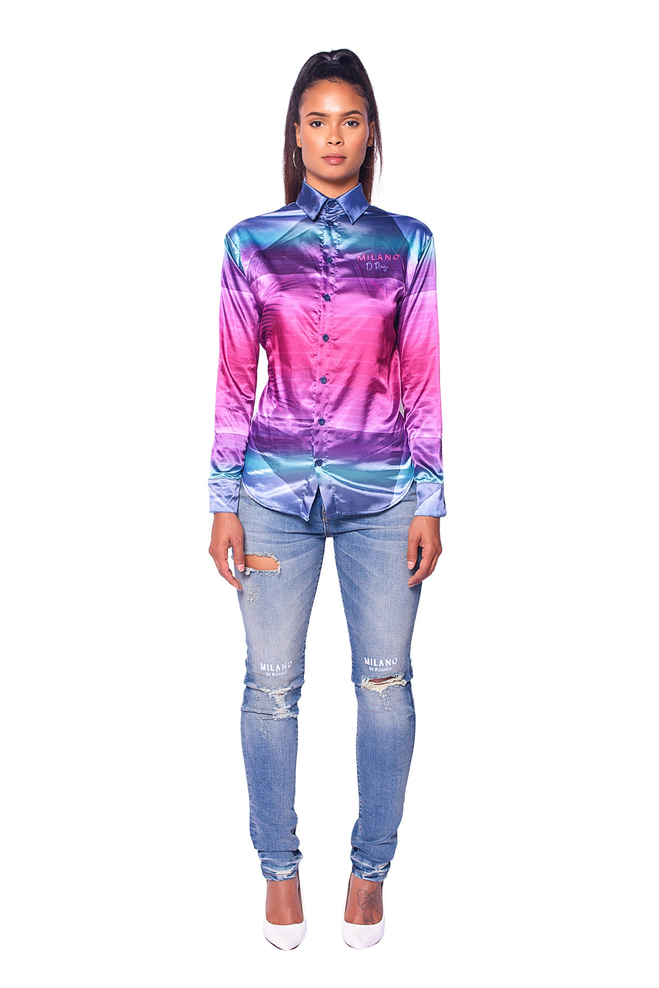 Arrie Long Sleeve Satin Shirt