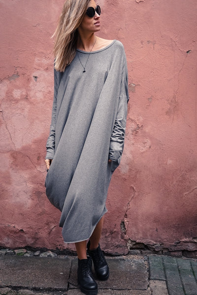 Grey Oversized Street Style Dress